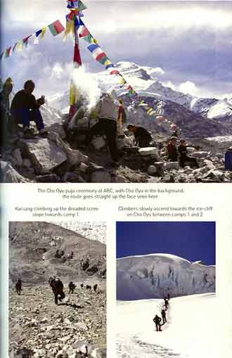Top: The Cho Oyu puja ceremony at ABC. LL: Climbing up scree slope to Camp1. LR: Ice cliff on Cho Oyu between camps 1 and 2. - Legs On Everest book