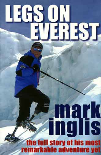 Mark Inglis testing his legs on the ice cliffs next to Everest North ABC - Legs On Everest book cover