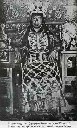 A lama magician from Northern Tibet wearing an apron of carved human bones - Magic and Mystery in Tibet book