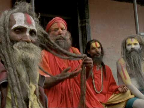 86-year-old Hanuman Baba and 3 Hindu Sahus at Pashupatinath in Kathmandu - Michael Palin Himalaya DVD