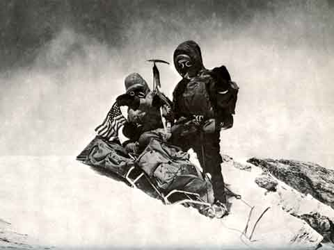 John Roskelley and Ngawang Samden on Dhaulagiri summit May 12, 1973 - Mountain of Storms: The American Expeditions to Dhaulagiri book