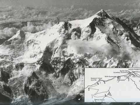 Hermann Buhl Nanga Parbat Ascent Route From Air - Nanga Parbat Pilgrimage: The Lonely Challenge book cover