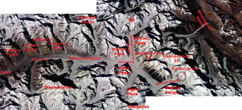 Baltoro Glacier from Paiju to Concordia with K2, Broad Peak, Gasherbrum I, Gasherbrum II and Gasherbrum IV, Masherbrum  - Nasa Image ISS001-343-26 and 343-27