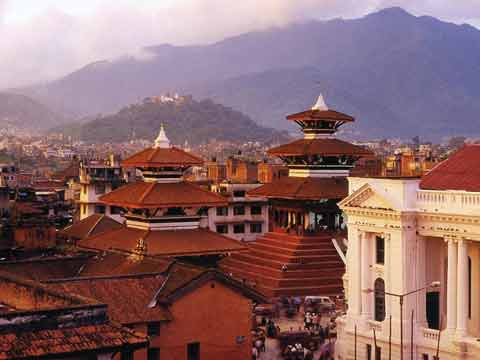 Kathmandu Durbar Square With Swayambhunath On Hill In Background - Nepal: Kathmandu Valley, Chitwan, Annapurna, Mustang, Everest (Lonely Planet Pictorial) book