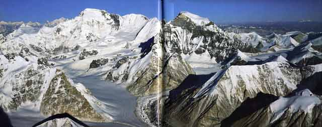 Cho Oyu and Gyachung Kang from southeast - Over the Himalaya book