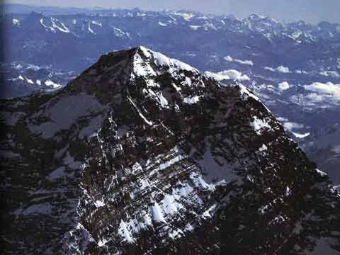 Everest Summit section with Northeast and Southwest Ridges - Over the Himalaya book