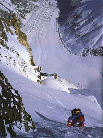 Pierre Beghin Photo Of Christophe Profit Climbing The K2 Northwest Ridge At 8100m August 15, 1991 - Peaks Of Glory book