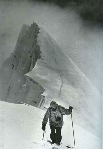Hermann Buhl climbing Chogolisa June 26, 1957. Shortly after, they were forced to retreat and one of the cornices gave way, plunging him to his death - Quest For Adventure book