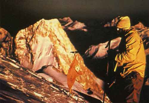 Kurt Diemberger's photo of Hermann Buhl on Broad Peak Summit June 9, 1957 - Quest For Adventure book