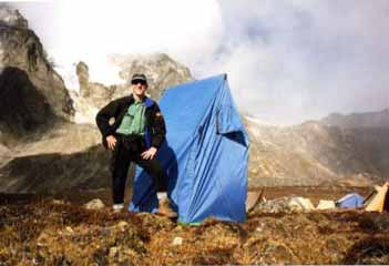 Jerome Ryan with toilet tent on the Everest Kangshung East Face trek in October 1998