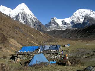 Our camp for the night at Ramche (4620m) on the way to Oktang to see Kangchenjunga South Face