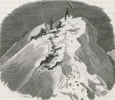 Matterhorn First Ascent - Woodcut of Edward Whymper and team on the Matterhorn Summit July 14, 1865 - Scrambles Amongst the Alps: In The Years 1860-1869 book