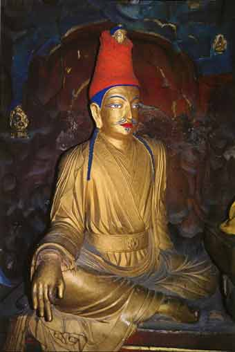 The 7C Dharmaraja Cave has a statue of Songtsen Gampo made in the mid-17C - Splendor of Tibet: The Potala Palace book