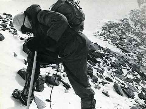 Ernst Forrer on Dhaulagiri Summit Ridge on First Ascent May 13, 1960 - Summits and Secrets book