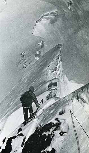 Hermann Buhl starting to descend from Chogolisa. Soon after in a whiteout, Buhl unroped from Kurt Diemberger and fell through a cornice and died on June 26, 1957. - Summits and Secrets book