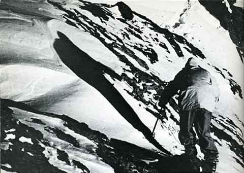 Yard by yard, without oxygen, Hermann Buhl approached the summit of Broad Peak on June 9, 1957 - Summits and Secrets book