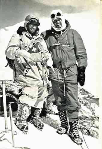 Dhaulagiri First Ascent - Peter Diener and Ernst Forrer on Dhaulagiri summit May 13, 1960 - The Ascent Of Dhaulagiri book