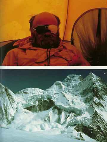 Top: A Snowblind Kurt Diemberger At 7000m On Descent From Broad Peak Summit. Bottom: Avalanche On Broad Peak 1984 - Endless Knot: K2 Mountain Of Dreams And Destiny book
