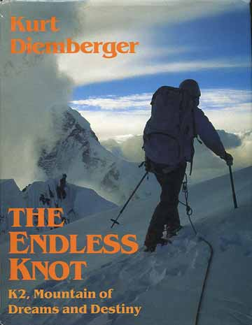 Julie Tullis on the summit of Broad Peak looking to K2 on July 18 1984 – her mountain of mountains - Endless Knot: K2 Mountain Of Dreams And Destiny book front cover