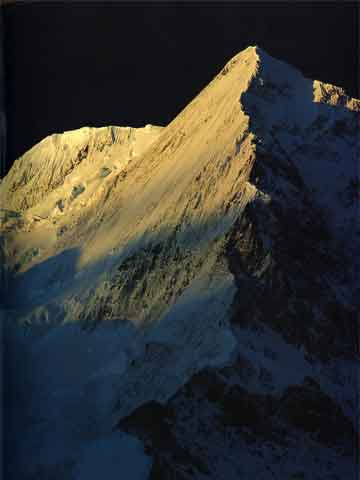 Broad Peak Central And North Summits Sunrise Chinese Side From 5700m On Godwin-Austen Glacier - The Karakoram: Mountains of Pakistan book
