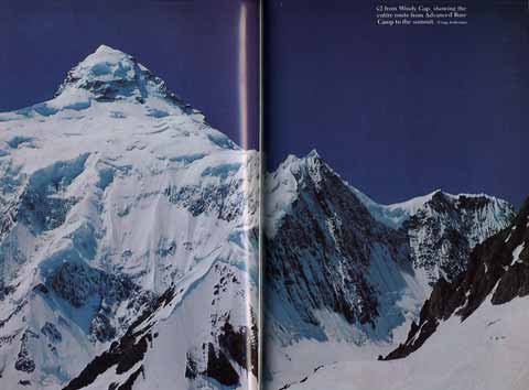 K2 from Windy Gap, showing the entire northeast route from advanced base camp to the summit - The Last Step: The American Ascent Of K2 book