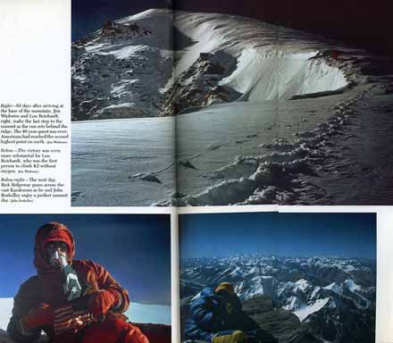 Lou Reichardt makes the last few steps to the K2 summit. Lou Reichardt holds the US and Pakistani flags on the K2 summit on September 6, 1978. Rick Ridgeway on the K2 summit on September 7, 1978. - The Last Step: The American Ascent Of K2 book