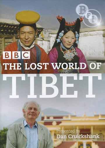 Top: Tibetans in traditional costumes 1940s. Bottom: Dan Cruickshank in Dharamsala - BBC The Lost World Of TIbet BBC DVD cover