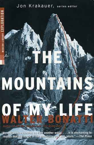 Petit Dru with the Bonatti Pillar route climbed by Walter Bonatti solo from August 17-22, 1955 - The Mountains Of My Life book cover