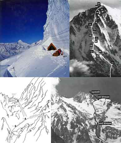 Camp 4, Nanga Parbat Rupal Face 1970 Climbing Route, Kuen Cannot Help Messner, Reinhold Messner Diamir Face Descent Route 1970 - The Naked Mountain: Nanga Parbat book