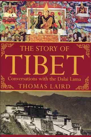 Top: Painting of Dalai Lama assuming power on November 17, 1950. Bottom: 1924 photo of Potala Palace. - The Story Of Tibet book cover