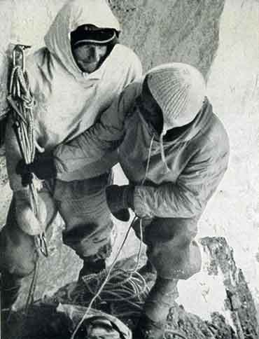 Heinrich Harrer and Fritz Kasparek Bivouac On The First Ascent Of The Eiger - The White Spider book