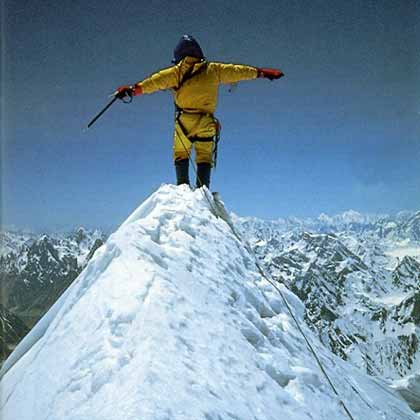 Greg Child on Gasherbrum IV summit June 22, 1986 - Thin Air Encounters In The Himalaya book