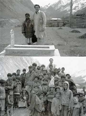 Top: Greg Mortenson and Twaha in Korphe, at the grave of Twaha's father, Haji Ali.Bottom: Greg Mortenson with Korphe's children - Three Cups Of Tea book