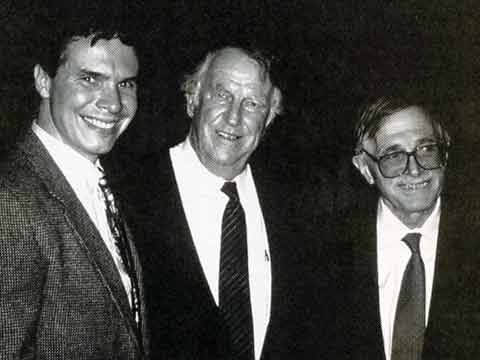 Greg Mortenson, Sir Edmund Hillary, and Jean Hoerni whose donation started the Central Asia Institute - Three Cups Of Tea book
