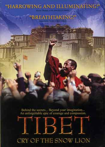 Monk in uprising with Potala Palace behind - Tibet Cry Of The Snow Lion DVD cover