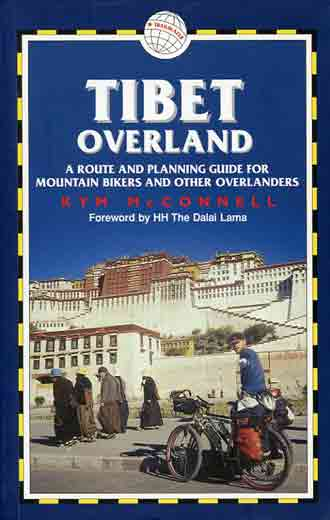 Bicylist in front of Lhasa Potala Palace - Tibet Overland book cover