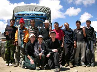 Charlotte Ryan, Peter Ryan and Jerome Ryan with our Nepalese guide Gyan Tamang and 4-person Nepalese crew, and Tibetan guide Jigme and our 2-person Tibet crew at Shishapangma checkpoint guesthouse