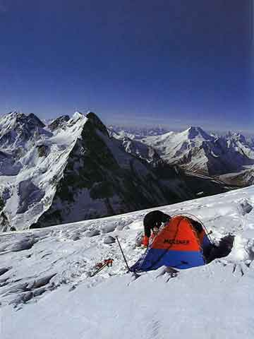 Reinhold Mesner's Camp 4 On The K2 Shoulder with a View To The Gasherbrums, Broad Peak And Chogolisa - To The Top Of The World book