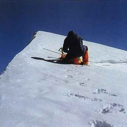Reinhold Messner just below the K2 Summit on July 12, 1979 - To The Top Of The World book