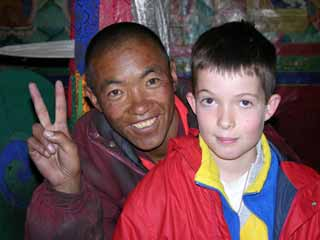 Monk and Peter Ryan at Rongbuk Monastery near Everest North base Camp