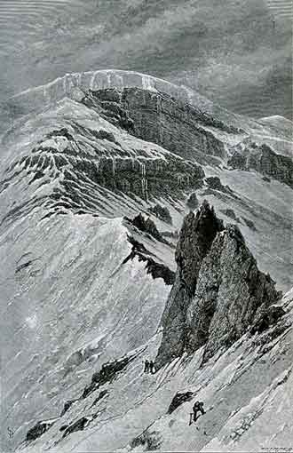 Chimborazo woodcut by Edward Whymper - Travels Amongst the Great Andes of the Equator book