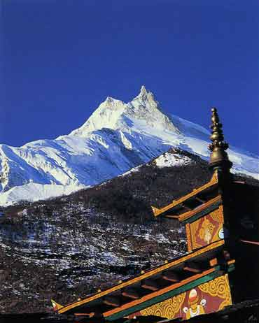 Manaslu from Sama Gompa - Trekking And Climbing in Nepal trekking guidebook