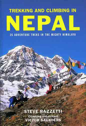 Annapurna South from moraine above Annapurna Base Camp - Trekking And Climbing in Nepal book cover
