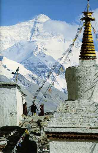 Mount Everest North Face and Rongbuk Monastery - Trekking in Tibet: A Traveler's Guide book