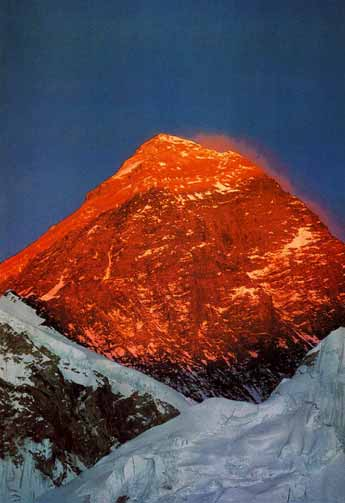 Everest southwest face glows at sunset from Kala Pattar - Trekking in Himalayas book