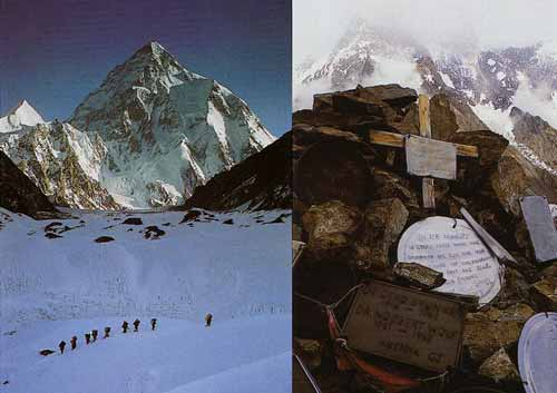Left: A caravan of porters works its way along the track leading from Concordia to K2 base camp. Right: Gilkey memorial cross and plaques commemorate those who have died on K2 - Trekking in Himalayas book