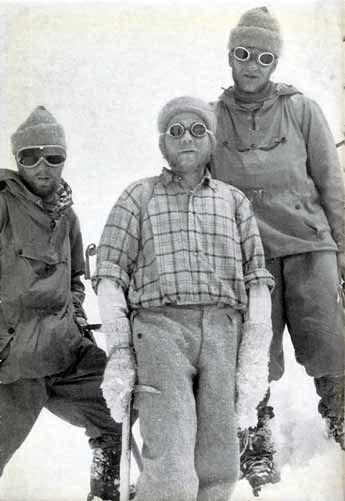Sepp larch, Fritz Moravec, and Hans Willenpart back in Camp 2 after the first ascent of Gasherbrum II on July 7, 1956 - Weisse Berge: Schwarze Menschen book
