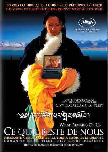 Kalsang Dolma holding DVD Player with Dalai Lama image and lake behind - What Remains Of Us DVD cover