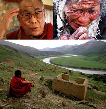 Dalai Lama giving message to Tibetans, Old Tibetan Woman crying at sight of Dalai Lama on DVD player, Tibetan valley - What Remains Of Us DVD