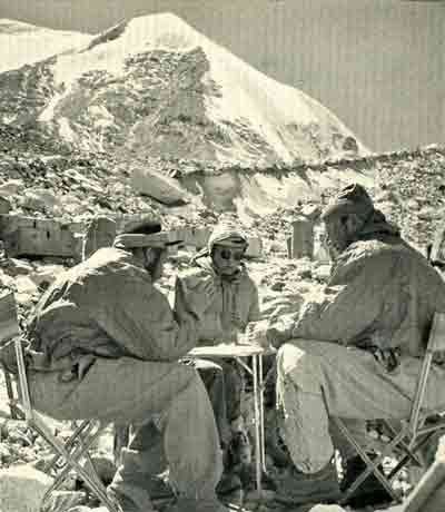 Denis Bertholet, Madame Claude Kogan and Raymond Lambert At Cho Oyu Base Camp 1954 - White Fury: Gaurisanker and Cho Oyu book